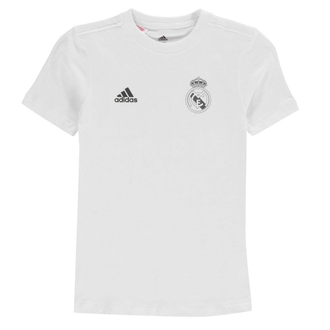 e0a3a5a5 adidas Kids Boys Real Basic T Shirt Junior Short Sleeve Performance ...