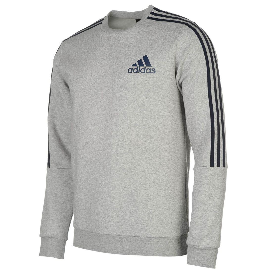 1edca32611e2 adidas Mens Gents 3 Stripe Sweatshirt Jumper Crew Neck Long Sleeve ...