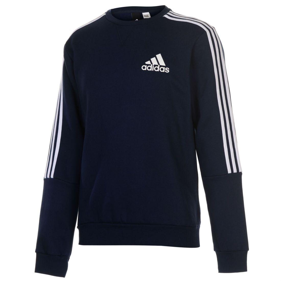 af48d8966ff370 adidas Mens 3 Stripe Sweatshirt Pullover Casual Long Sleeve Crew Neck Top