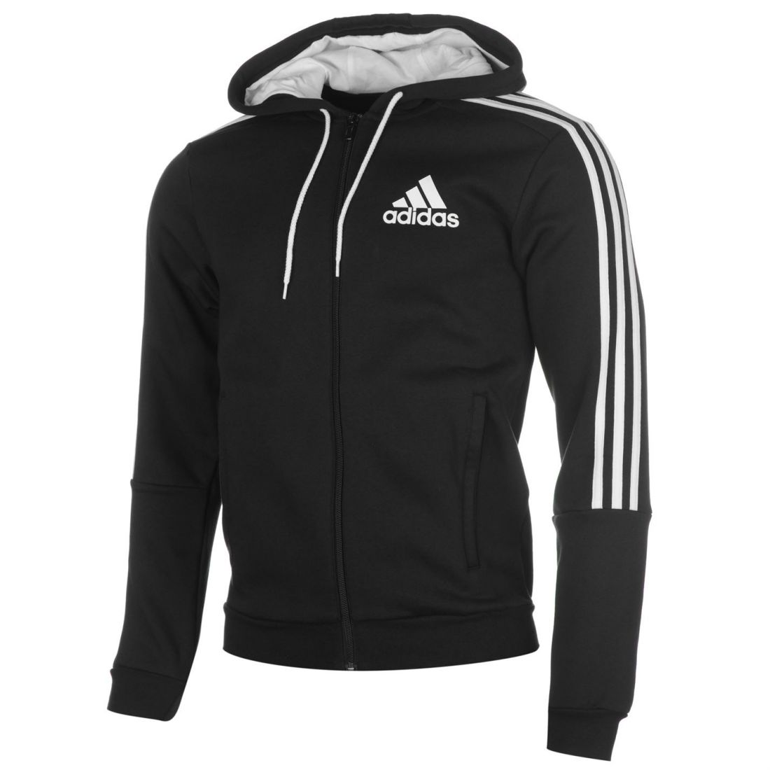 adidas Mens Gents 3 Stripe Hoodie Zipped Hoody Long Sleeve Top ... f0e73f4e463