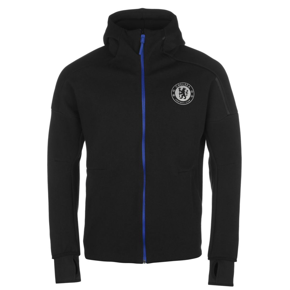 Details about adidas Mens Chelsea Football Club ZNE Hoody Zip Hoodie Hooded Top High Neck Full