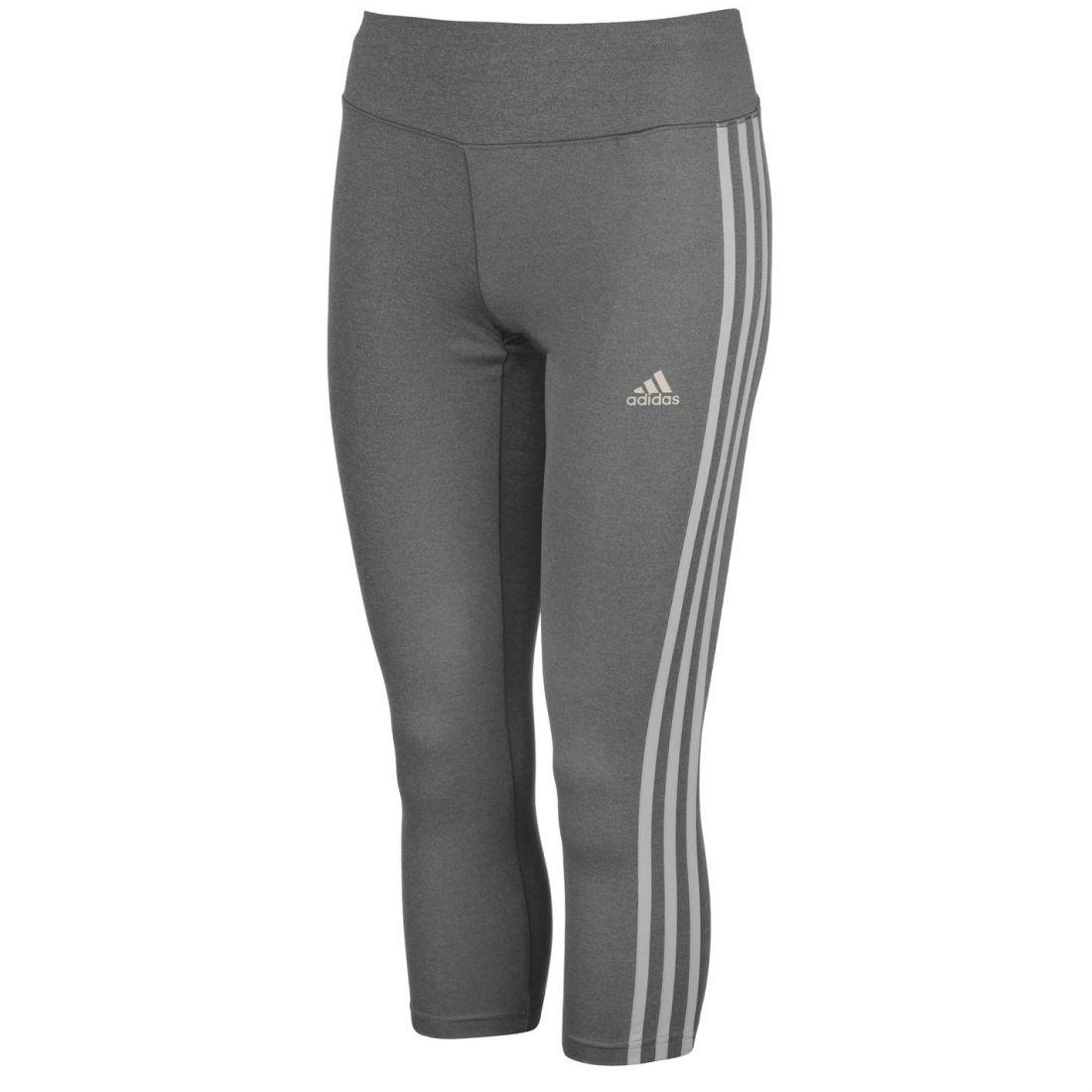 adidas Womens 3 Stripe Three Quarter Tights Capris Pants Trousers Bottoms 2f36d54882