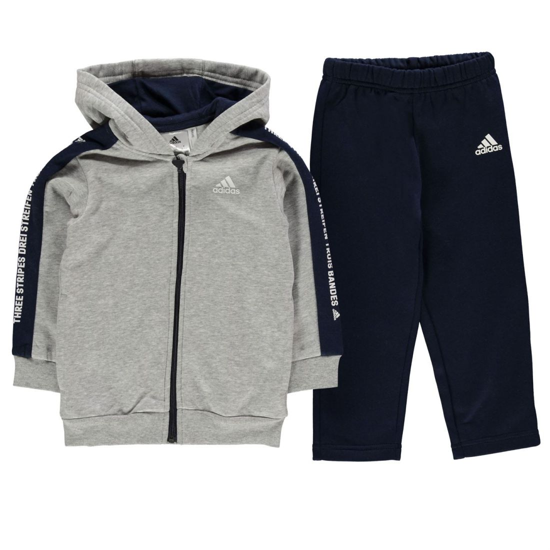 b569847b0 adidas Kids Boys Tape Full Zip Tracksuit Infant Fleece Hooded Stripe ...