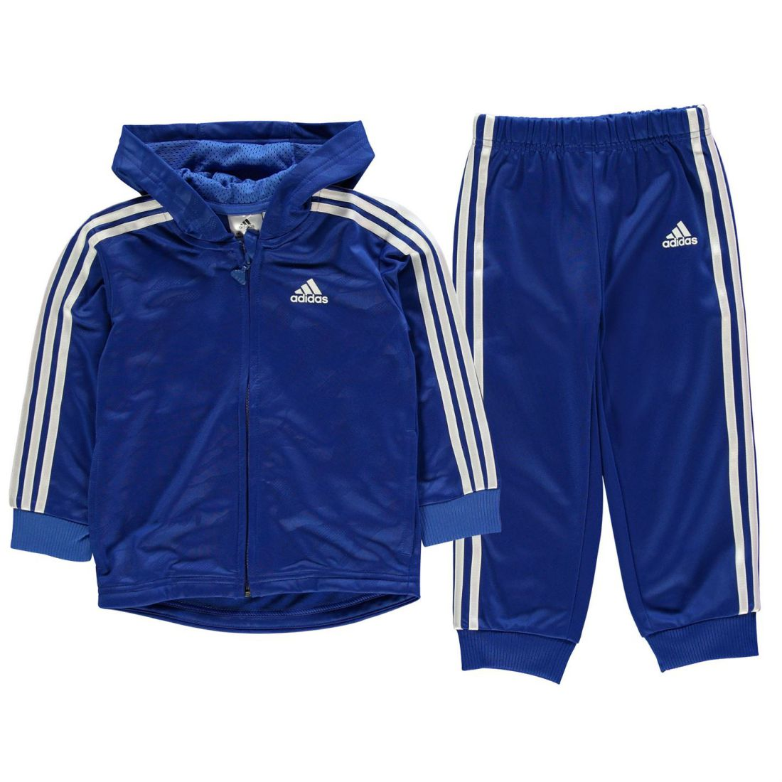 41c6e618cc77 adidas Kids Boys 3 Stripe Poly Tracksuit Infant Long Sleeve Lightweight  Hooded