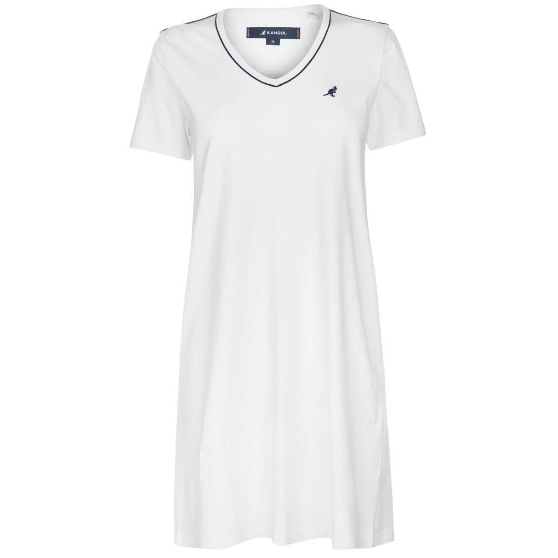 88120be08b860 Kangol V Neck T Shirt Dress Ladies Tunics Tee Top Short Sleeve ...