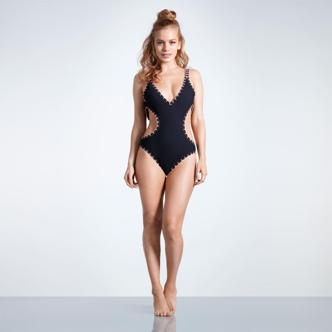 7ac24c064 USA Pro CutOut Swim Suit Ladies Swimming Pool Seaside Swimsuit Mesh ...