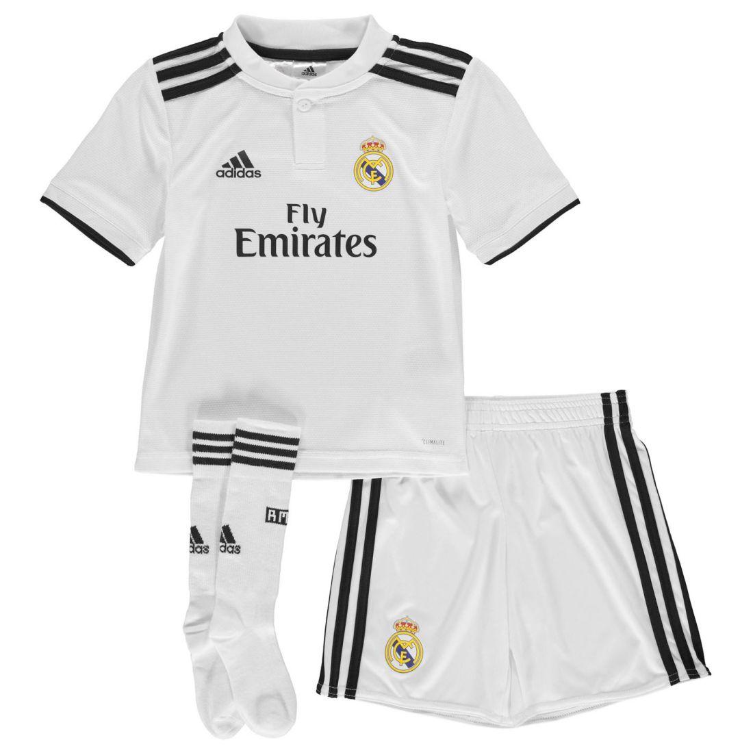 8d09dee7181 adidas Kids Boys Real Madrid Home Mini Kit 2018 2019 Domestic Minikits  ClimaLite