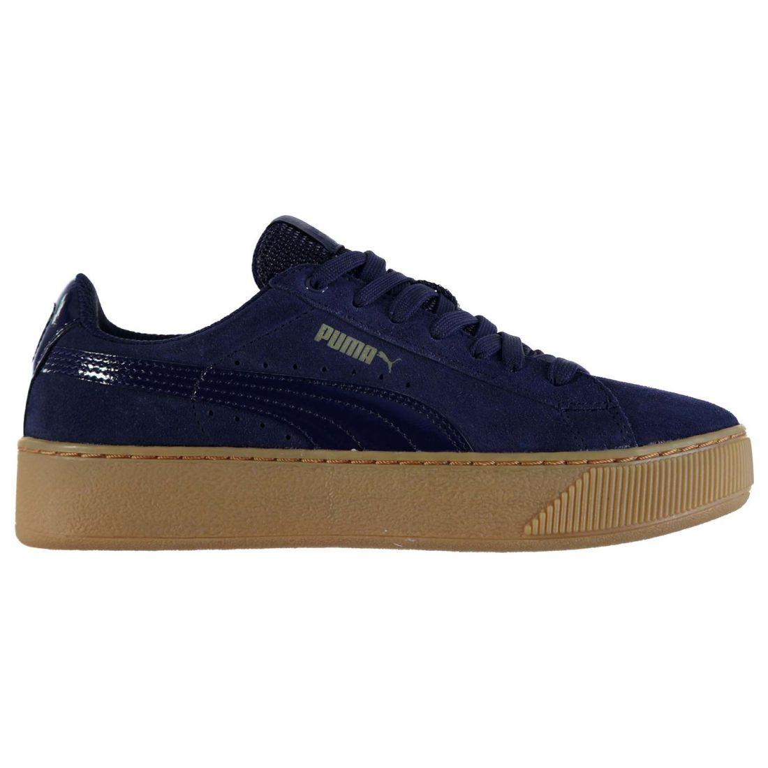 b58c9efd86c Puma Ladies Vikky Platform Trainers Laces Fastened Shoes Footwear