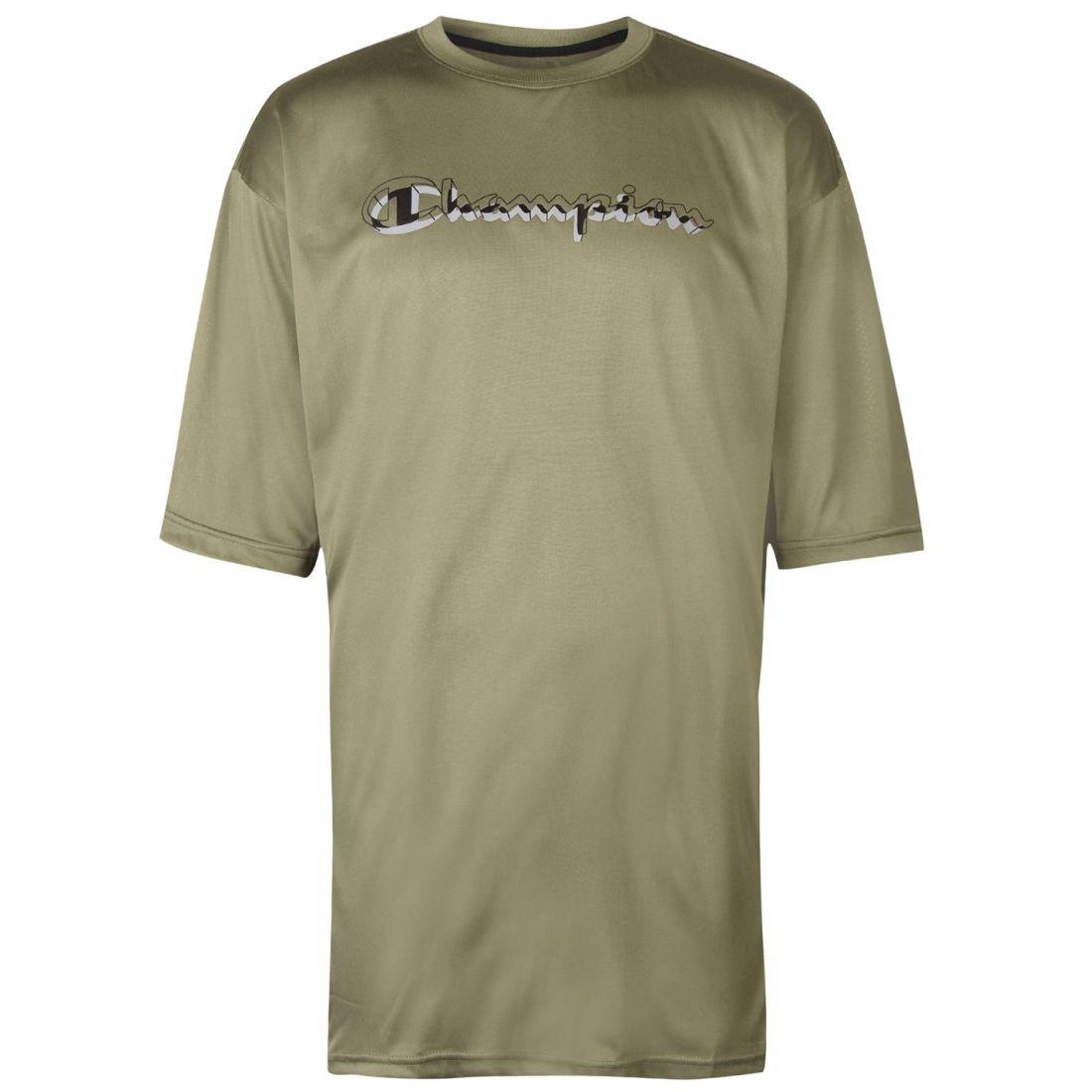 abc223f962d0 Champion Print Logo Mens Short Sleeve T-Shirt Green Crew Neck Top Fashion  Sports Shirts