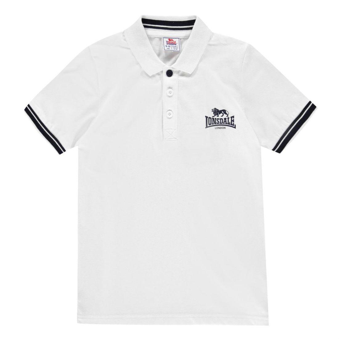 e8a88c6f6 Lonsdale Kids Boys 2 Stripe Jersey Polo Junior Shirt Classic Fit Tee ...