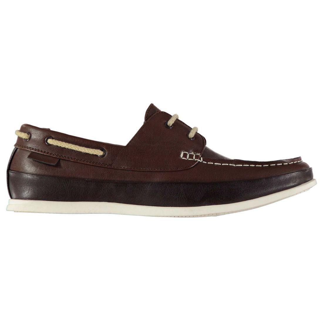 cf9d6e033 Soviet Mens Classic Boat Shoes Lace Up Moccasin Toe Contrast Colour ...