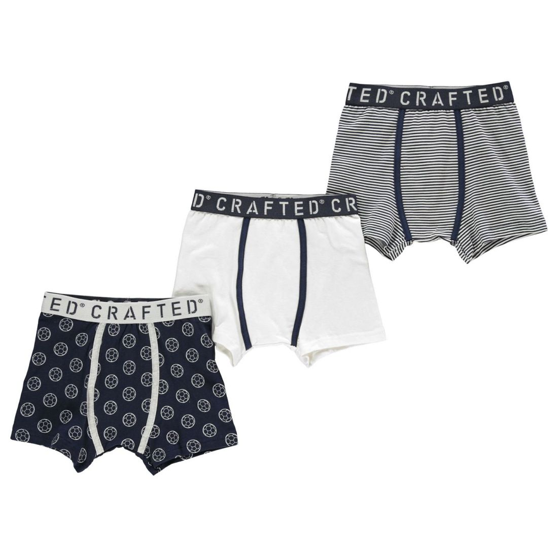 af8096da3b8 Crafted Essentials Kids Boys 3 Pack Design Boxer Shorts Underwear Pattern