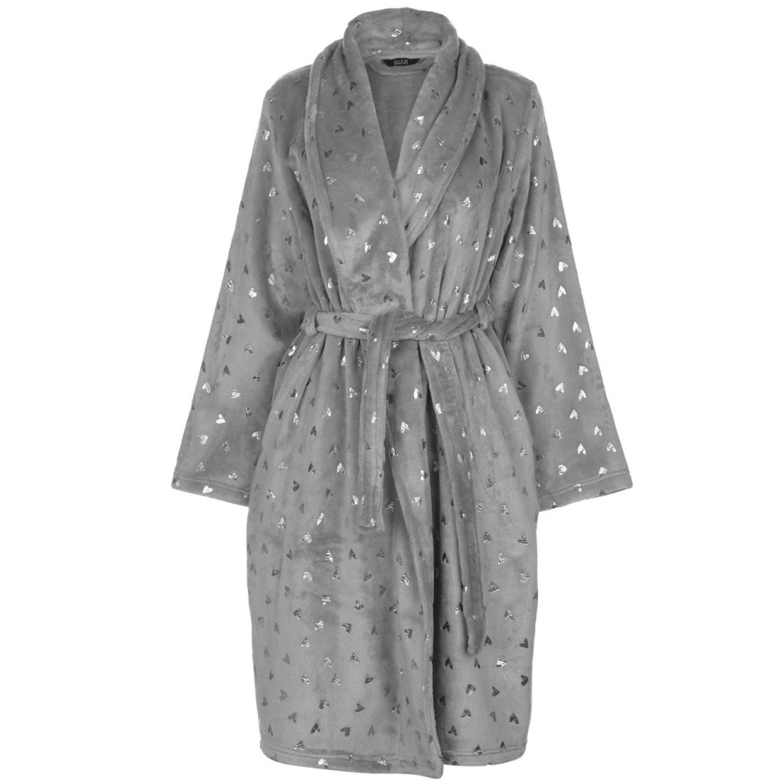 93b287d1058 Miso Womens Foil Print Robe Gown Long Sleeve Warm Block Colour Tie ...