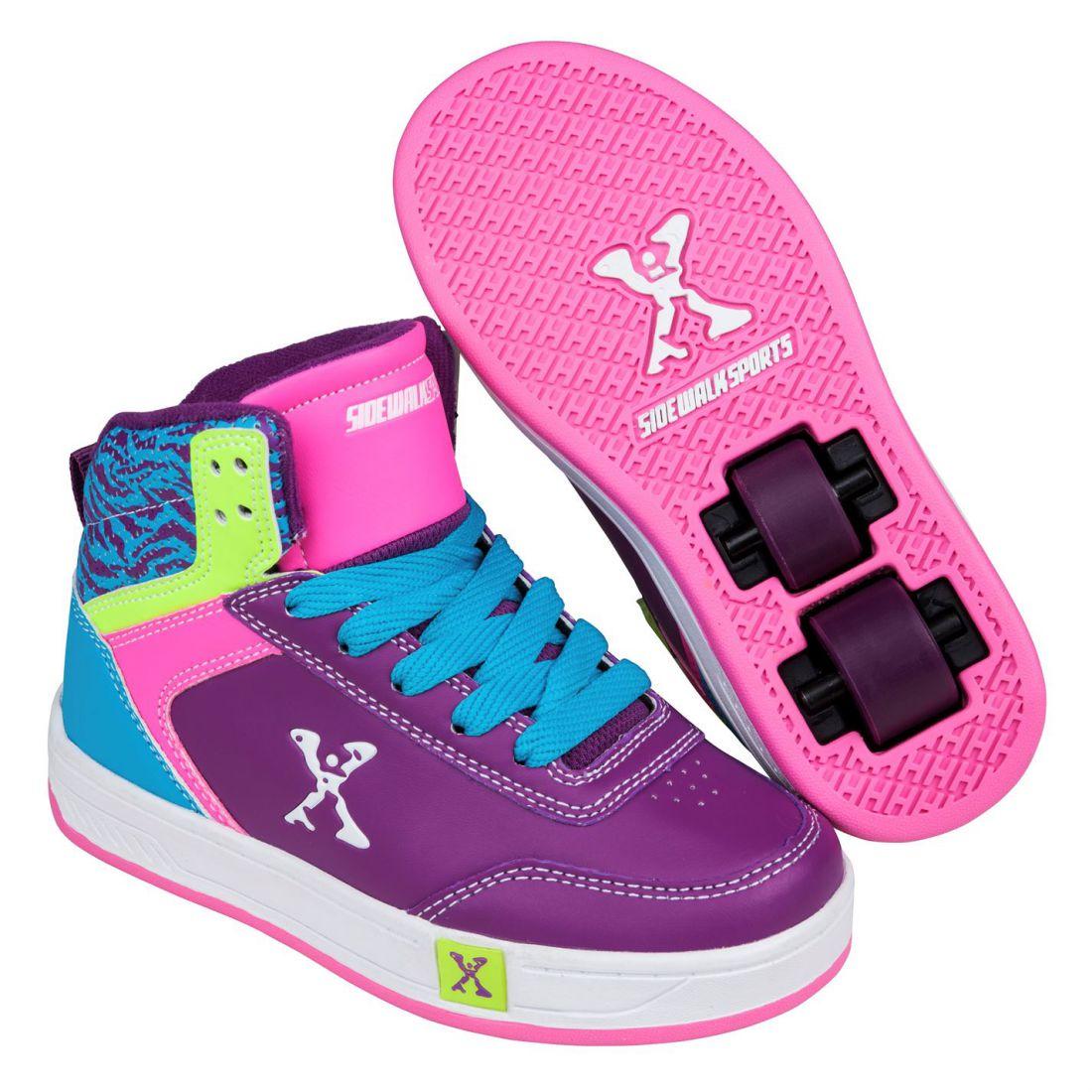sidewalk sport kids girls hi top skate lace up wheeled roller shoes rh ebay co uk