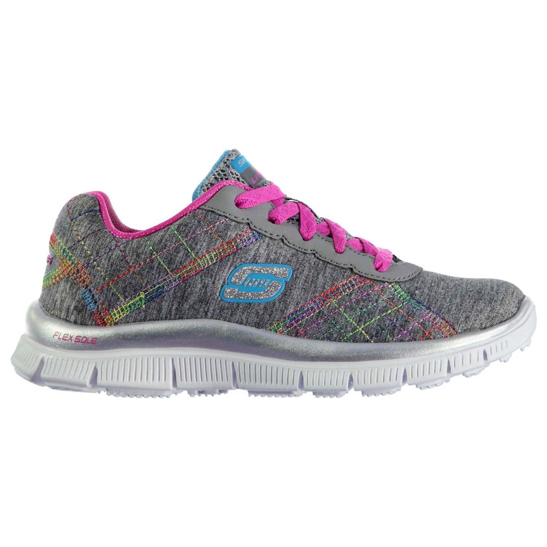 Skechers Girls Appeal Its Electric Kids Trainers shoes Lace Up Textile Upper