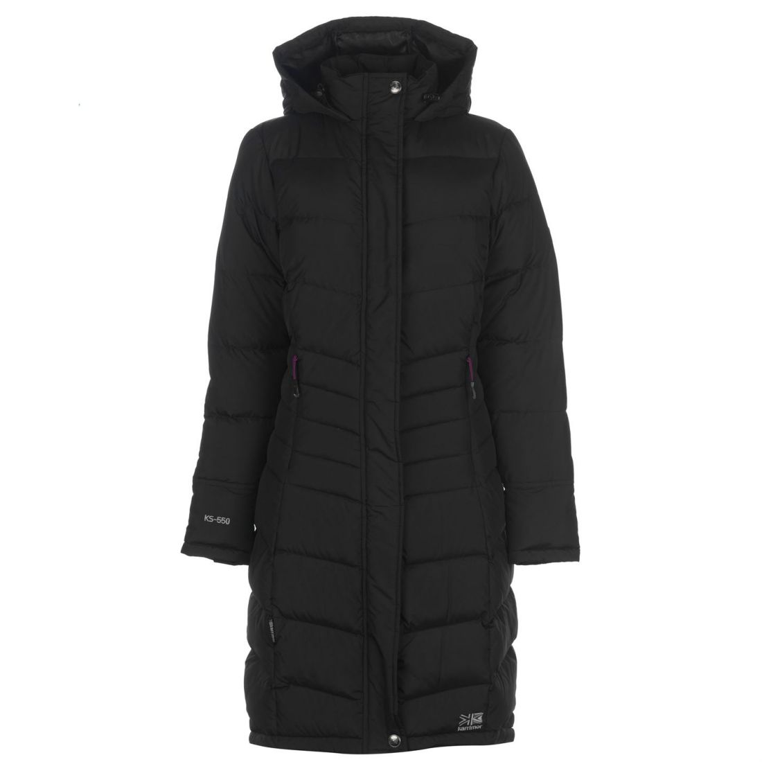 a7851a9e8631 Karrimor Womens Long Down Jacket Puffer Coat Top Sleeve Hooded Zip ...
