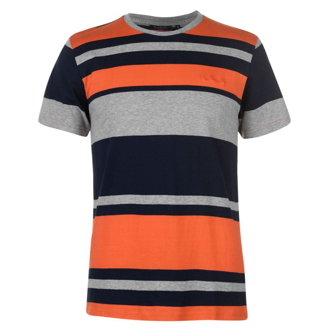 181ff9e8896331 Pierre Cardin Mens Big Stripe T Shirt Crew Neck Tee Top Short Sleeve ...