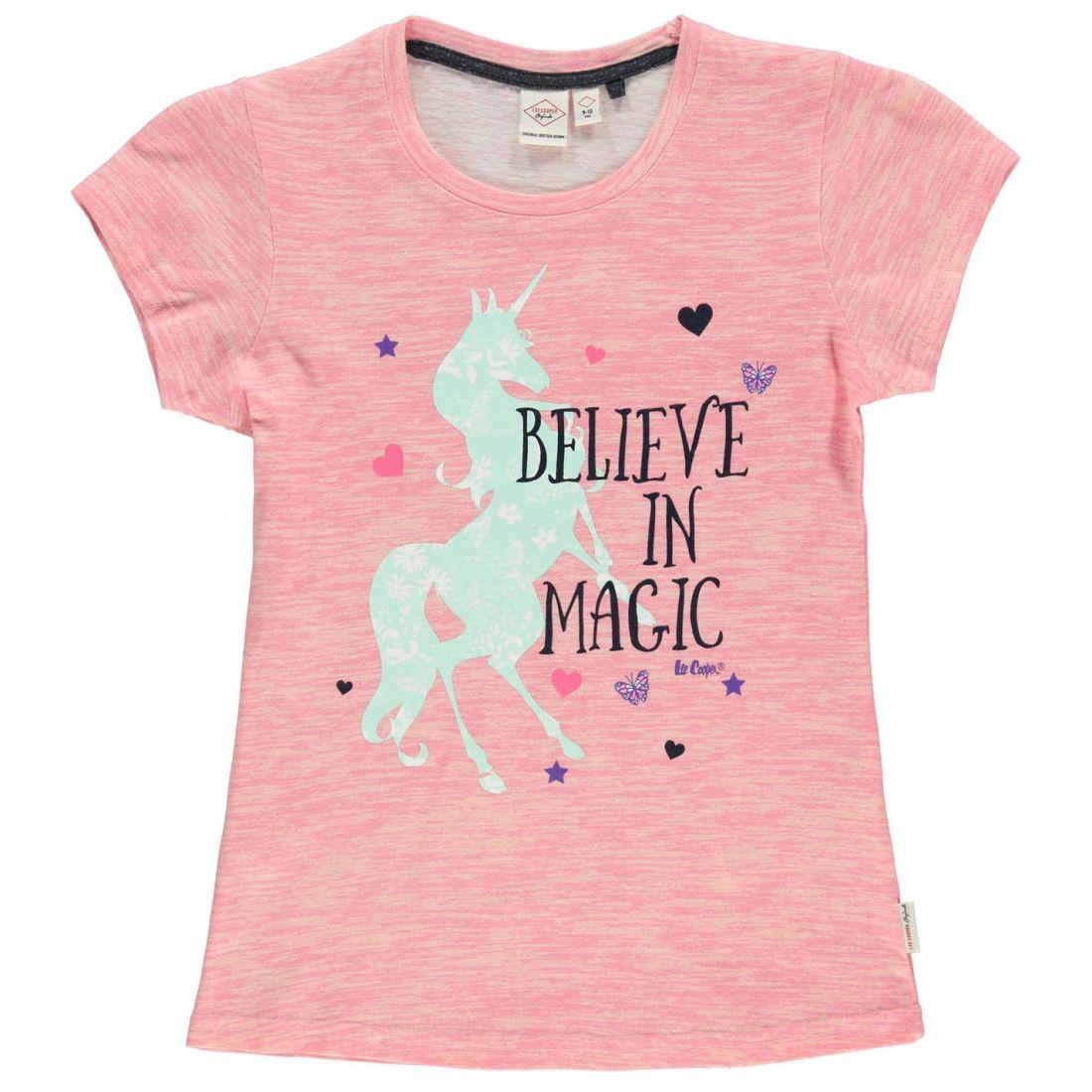 9213605f Lee Cooper Kids Girls Textured AOP T Shirt Junior Crew Neck Tee Top Short  Sleeve 7 7 sur 8 ...