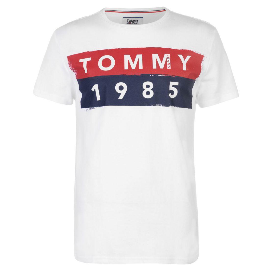 fd416649 Mens Tommy Jeans 1985 Logo T Shirt Crew Neck Short Sleeve New ...