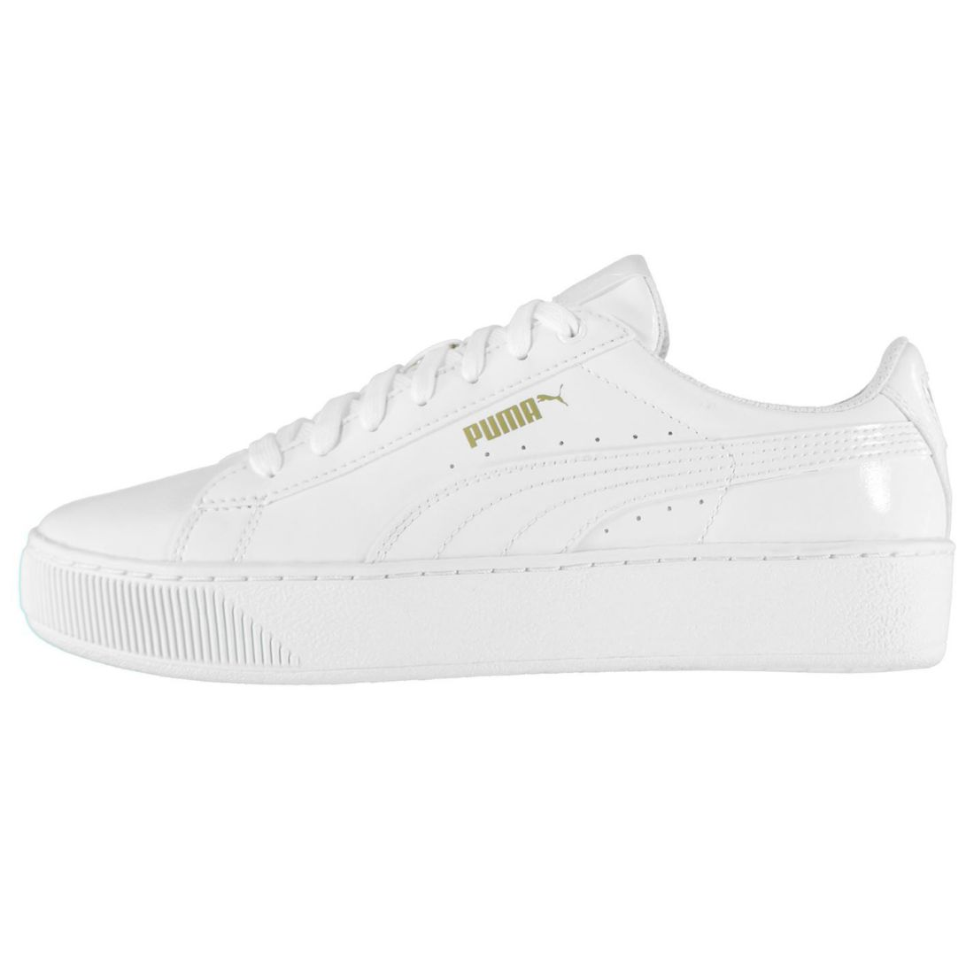 5d35697e5a60 Details about Puma Womens Patent Platform Trainers Shoes Lace Up Padded  Ankle Collar