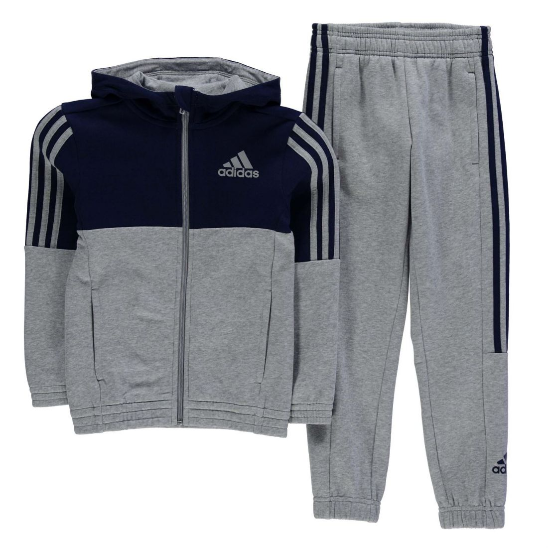 03faf4b174727 adidas Childrens 3S Jogging Suit Boys Stretchy Sport Active Bottoms ...