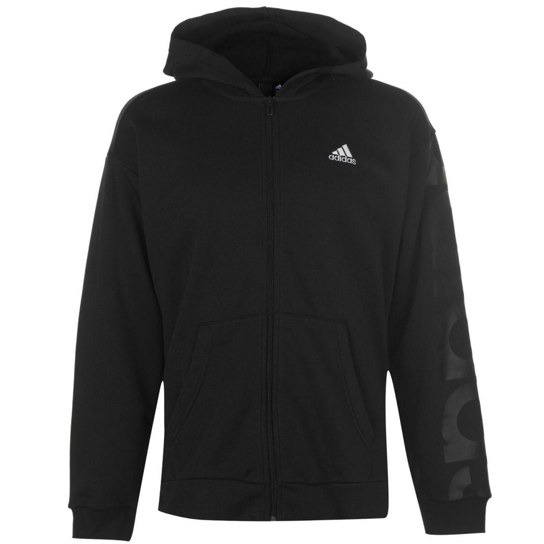 Hoodie larga Gents Hoody hombre manga Zip Big Fz Logo capucha Adidas para Negro de Top con wR1A68nx