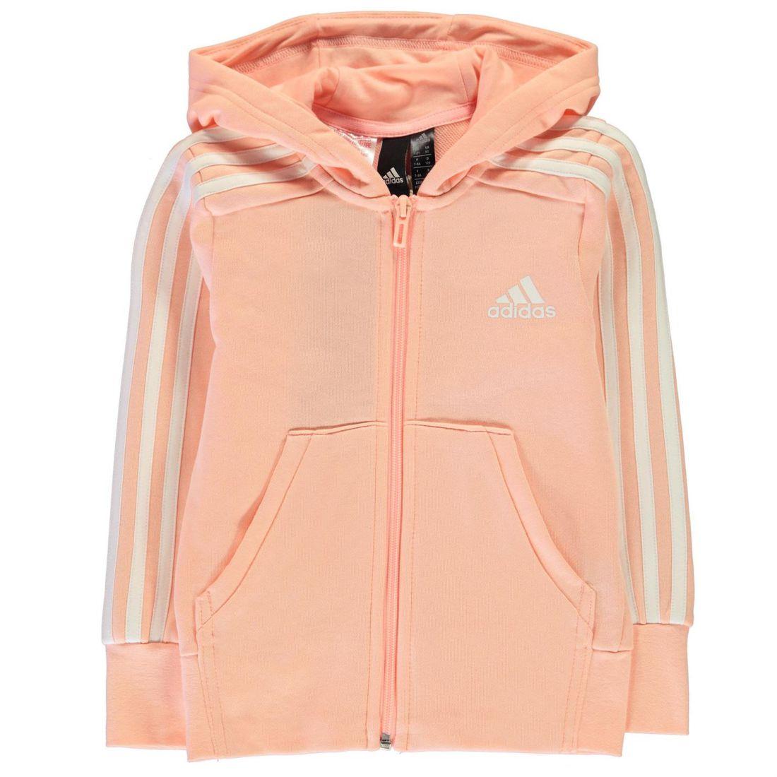 adidas Kids Girls 3 Stripe Zip Hoody Junior Hoodie Hooded Top Long ... 1017189734ab