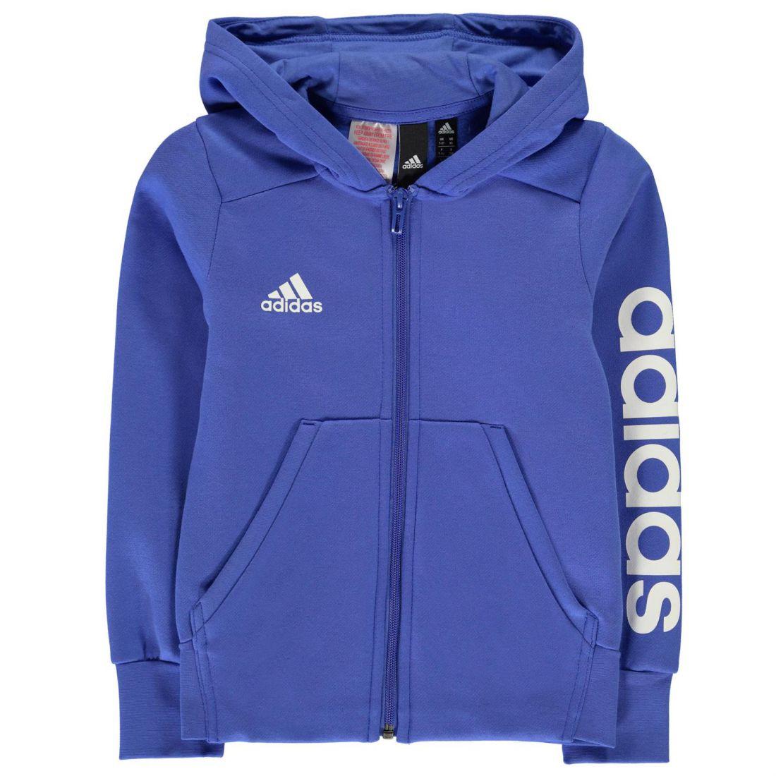 adidas Kids Girls Linear Zip Hoodie Junior Hoody Hooded Top Long ... d4750bccf528