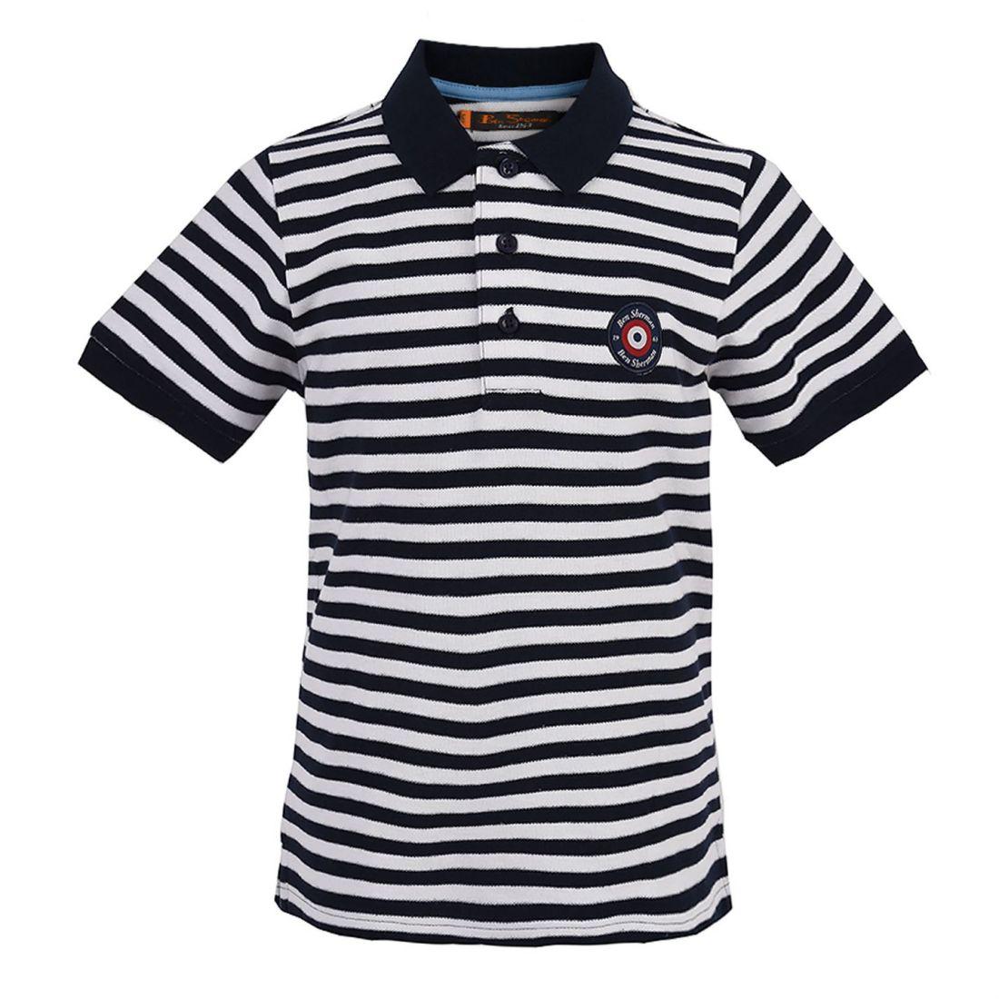 920259d8c Kids Ben Sherman Stripe Target Polo Shirt Classic Fit Short Sleeve ...