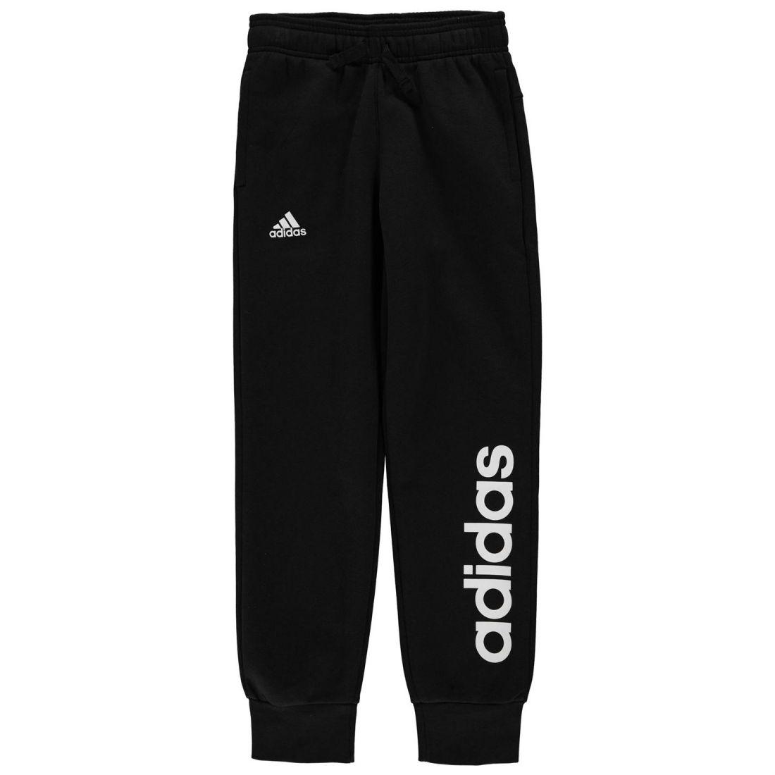 fe5653e9de31 Image is loading adidas-Linear-Jogging-Pants-Youngster-Girls-Fleece-Bottoms-