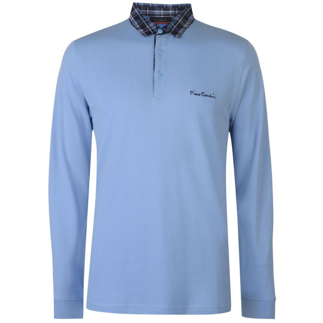 Details About Pierre Cardin Mens Long Sleeve Check Collar Polo Shirt Top Cotton Button Placket
