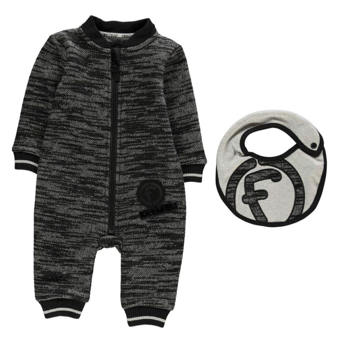 1678a76b8 Kids Boys Firetrap Fleece Romper Suit Baby Rompers Sleep Long Sleeve ...