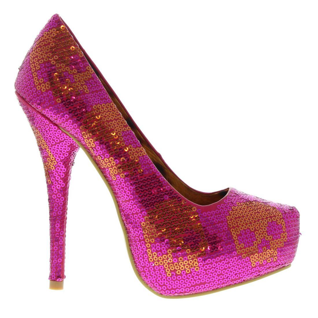 80b8e67466c Iron Fist Womens Digi Skull Sequin Heels Stiletto Platform Colourful ...