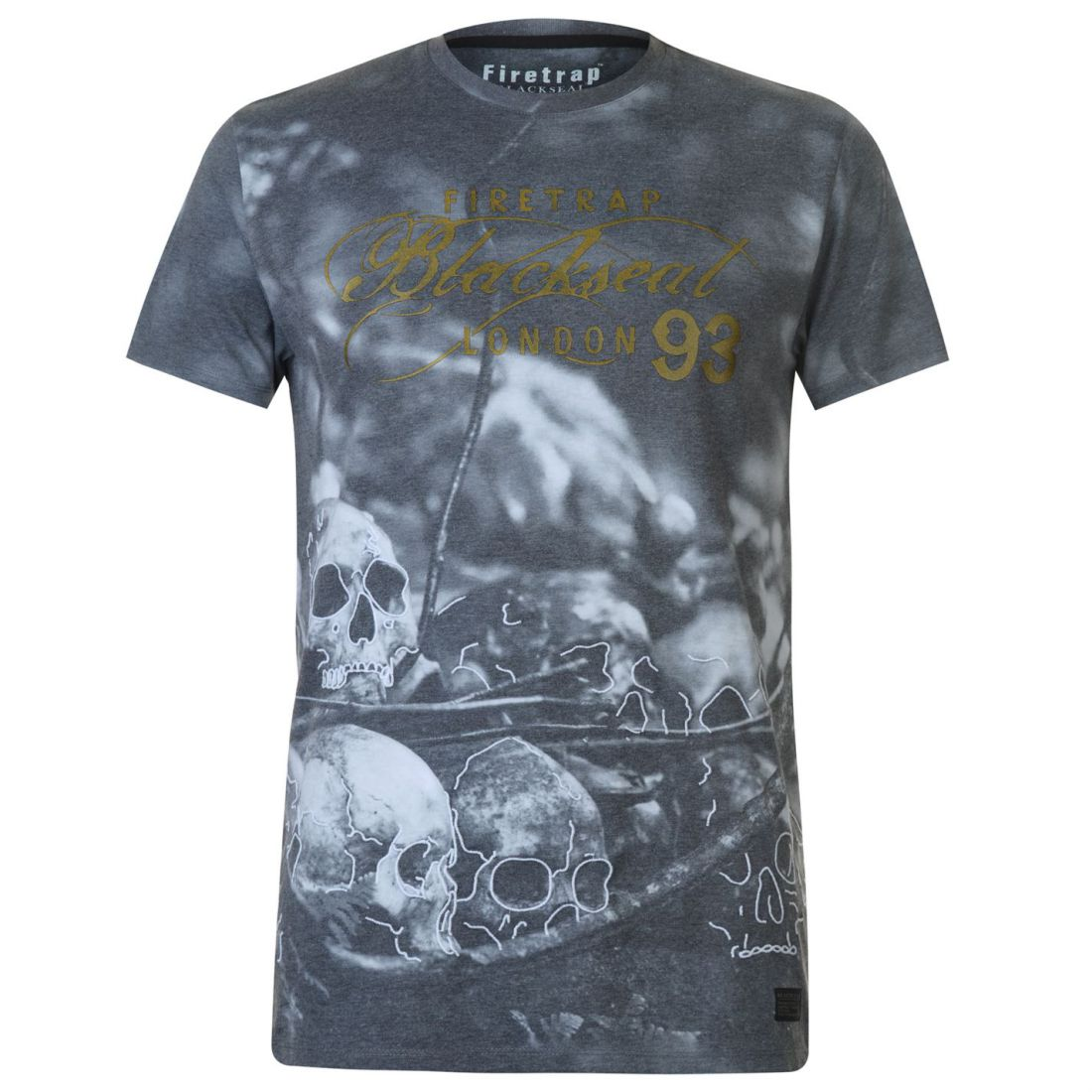 Firetrap Blackseal XL Death Moth T Shirt Mens Gents Crew Neck Tee Top Short