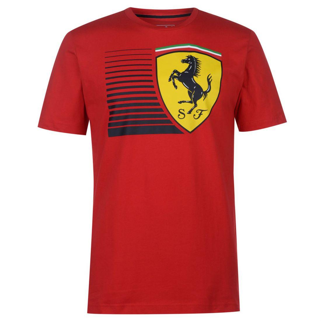 b2f651aac Puma Mens Scuderia Ferrari Big Shield T Shirt Crew Neck Tee Top Short Sleeve