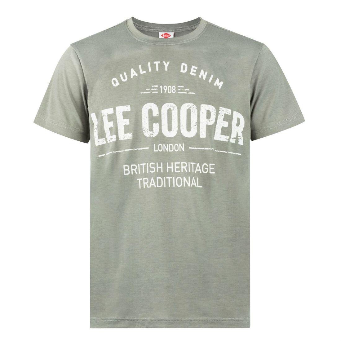 af638d13 Lee Cooper Mens Large Logo Print T Shirt Crew Neck Tee Top Short ...