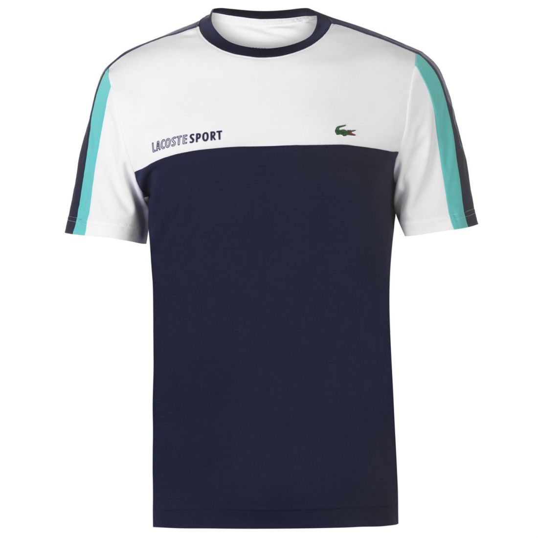 d4af4aff3146 Mens Lacoste Tennis Tri Colour T Shirt Crew Neck Short Sleeve New