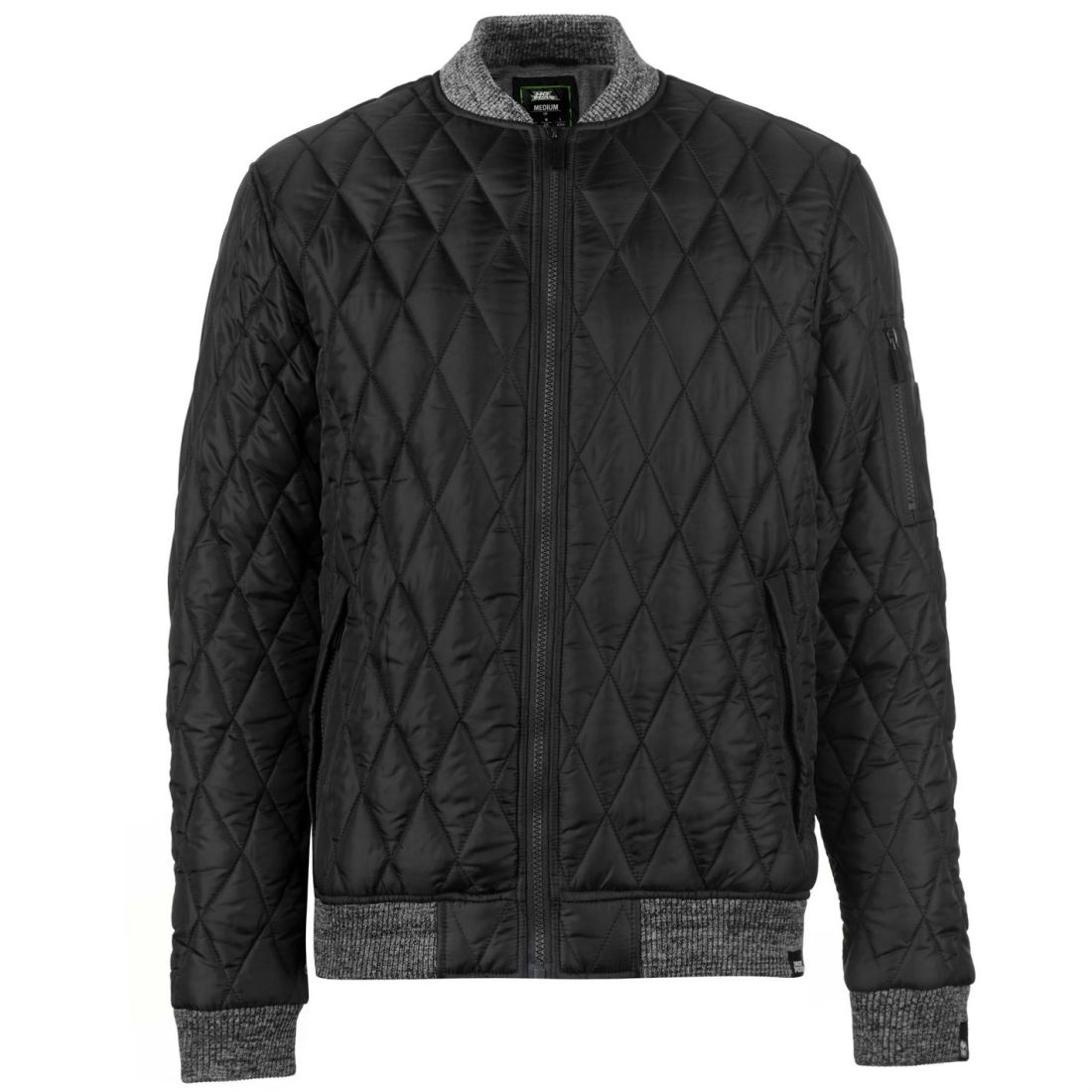 No-Fear-Quilted-Bomber-Jacket-Mens-Gents-Coat-Top-Full-Length-Sleeve-Zip-Zipped