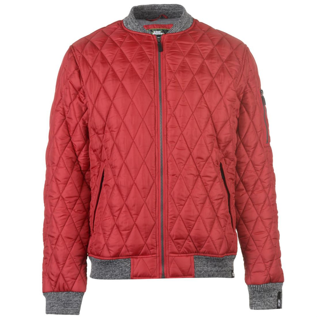 No-Fear-Quilted-Bomber-Jacket-Mens-Gents-Coat-Top-Full-Length-Sleeve-Zip-Zipped thumbnail 2