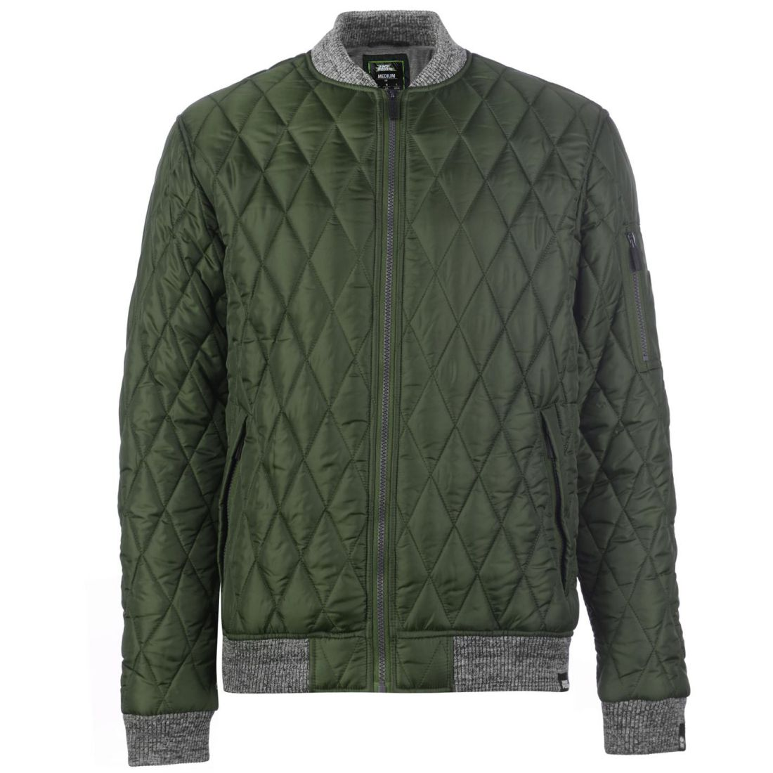 No-Fear-Quilted-Bomber-Jacket-Mens-Gents-Coat-Top-Full-Length-Sleeve-Zip-Zipped thumbnail 3