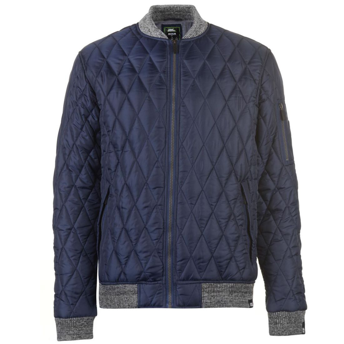 No-Fear-Quilted-Bomber-Jacket-Mens-Gents-Coat-Top-Full-Length-Sleeve-Zip-Zipped thumbnail 4