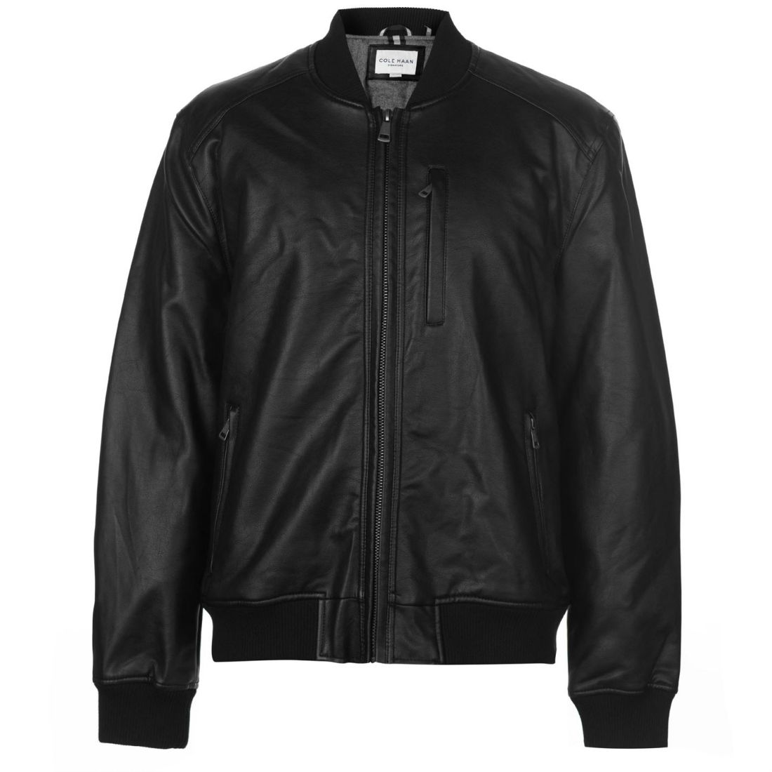 f97540eae Details about Cole Haan Mens Bomber Jacket Leather PU Coat Top Lightweight  Zip Full Insulated