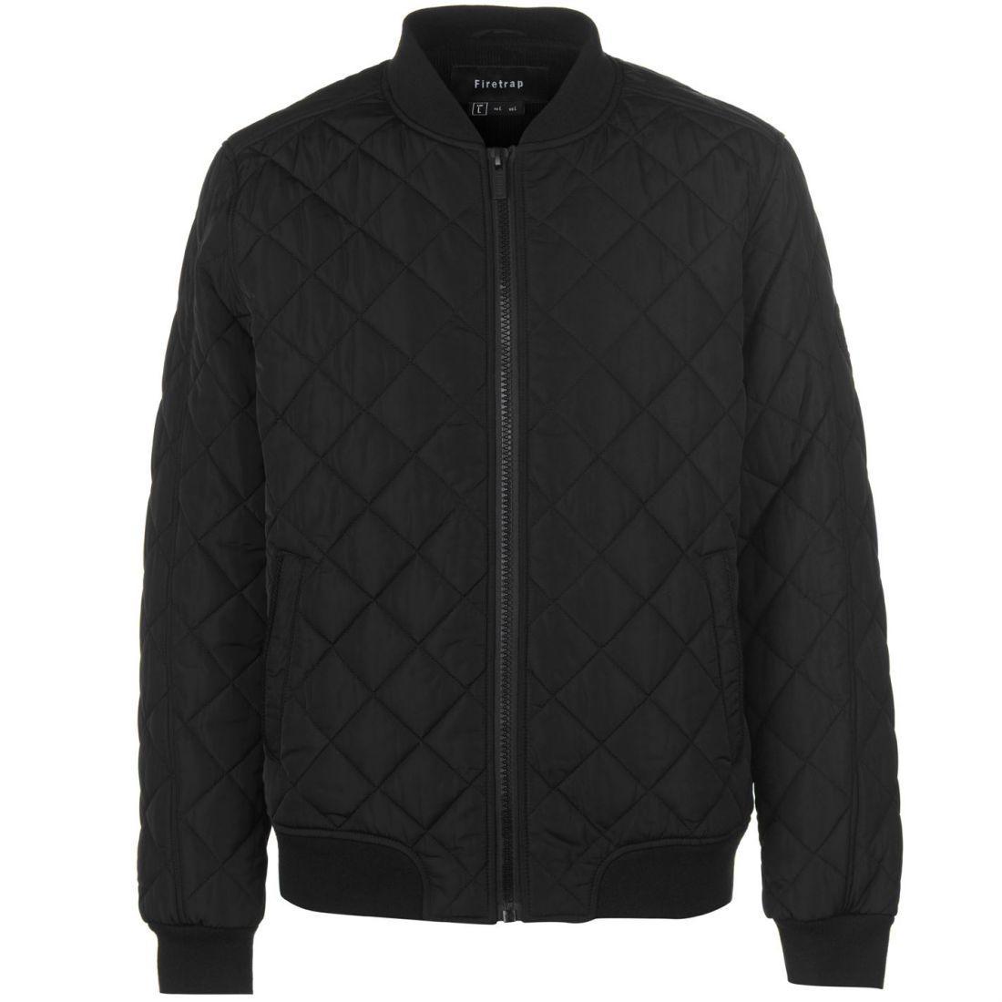 8bec10c98 Details about Mens Firetrap Quilted Bomber Jacket Long Sleeve New