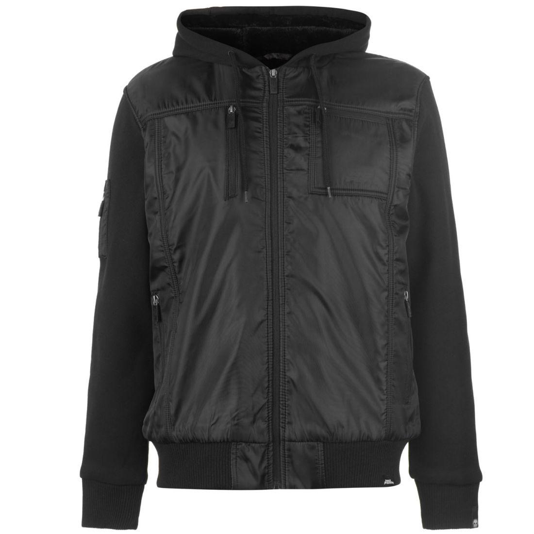 b861196428 No Fear Mens Lined Zip Jacket Padded Coat Top Long Sleeve Hooded ...