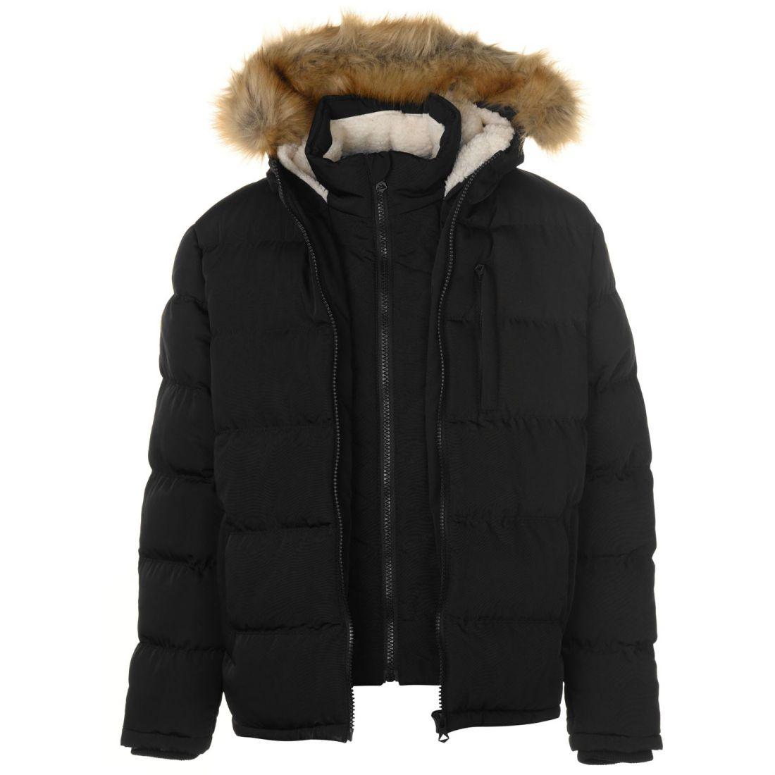 322f849a SoulCal Mens 2 Zip Bubble Jacket Padded Coat Top Warm Fur Trim Faux ...