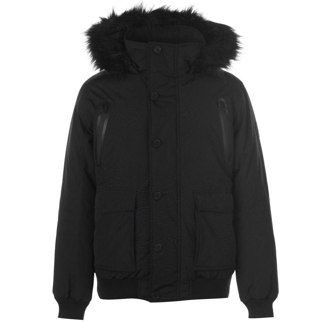 b024a523d Firetrap Mens Down Bomber Jacket Puffer Coat Top Long Sleeve Hooded ...