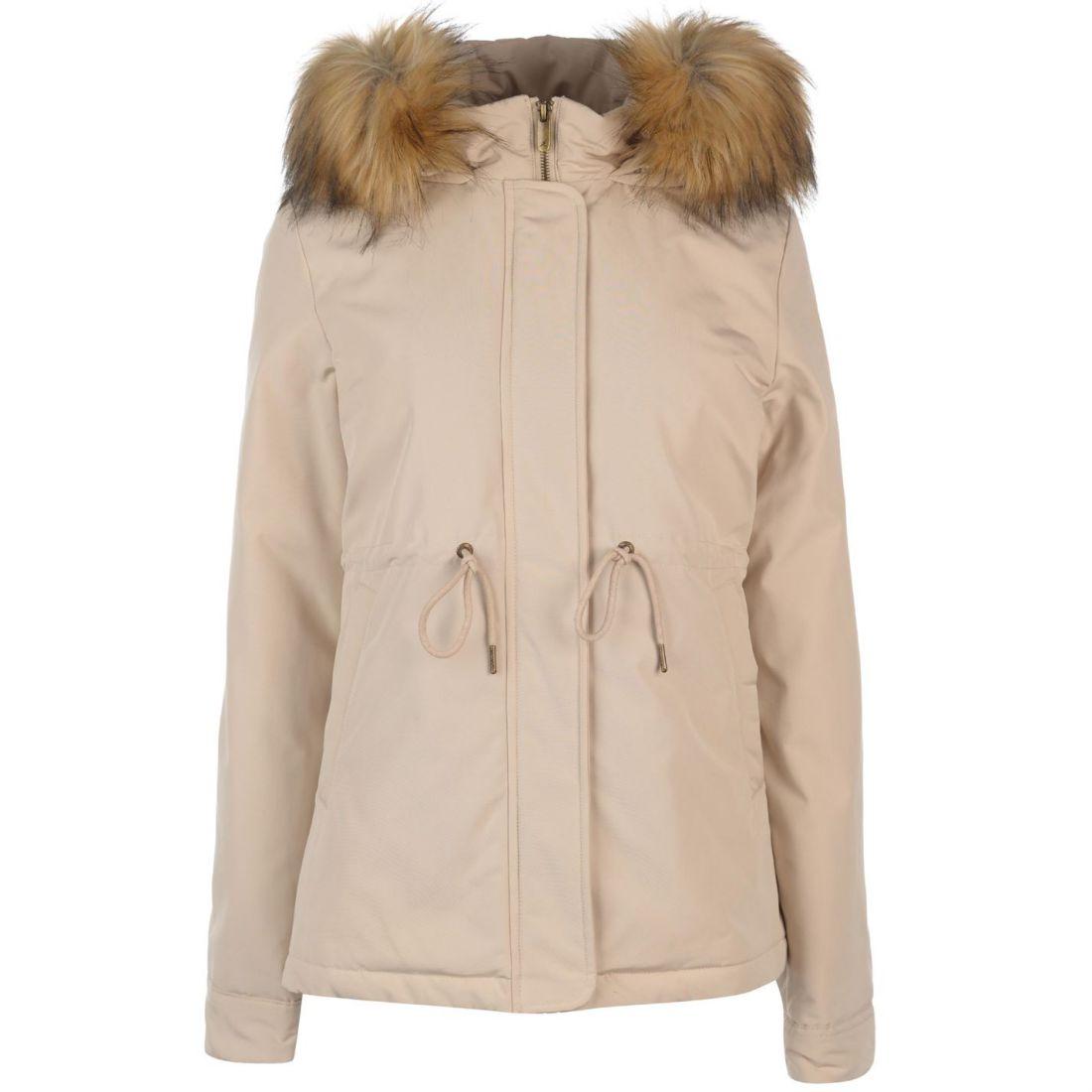 Kangol Womens Pintuck Parka Jacket Coat Top Long Sleeve Hooded Zip Full Fur  Trim 5b961fab285c