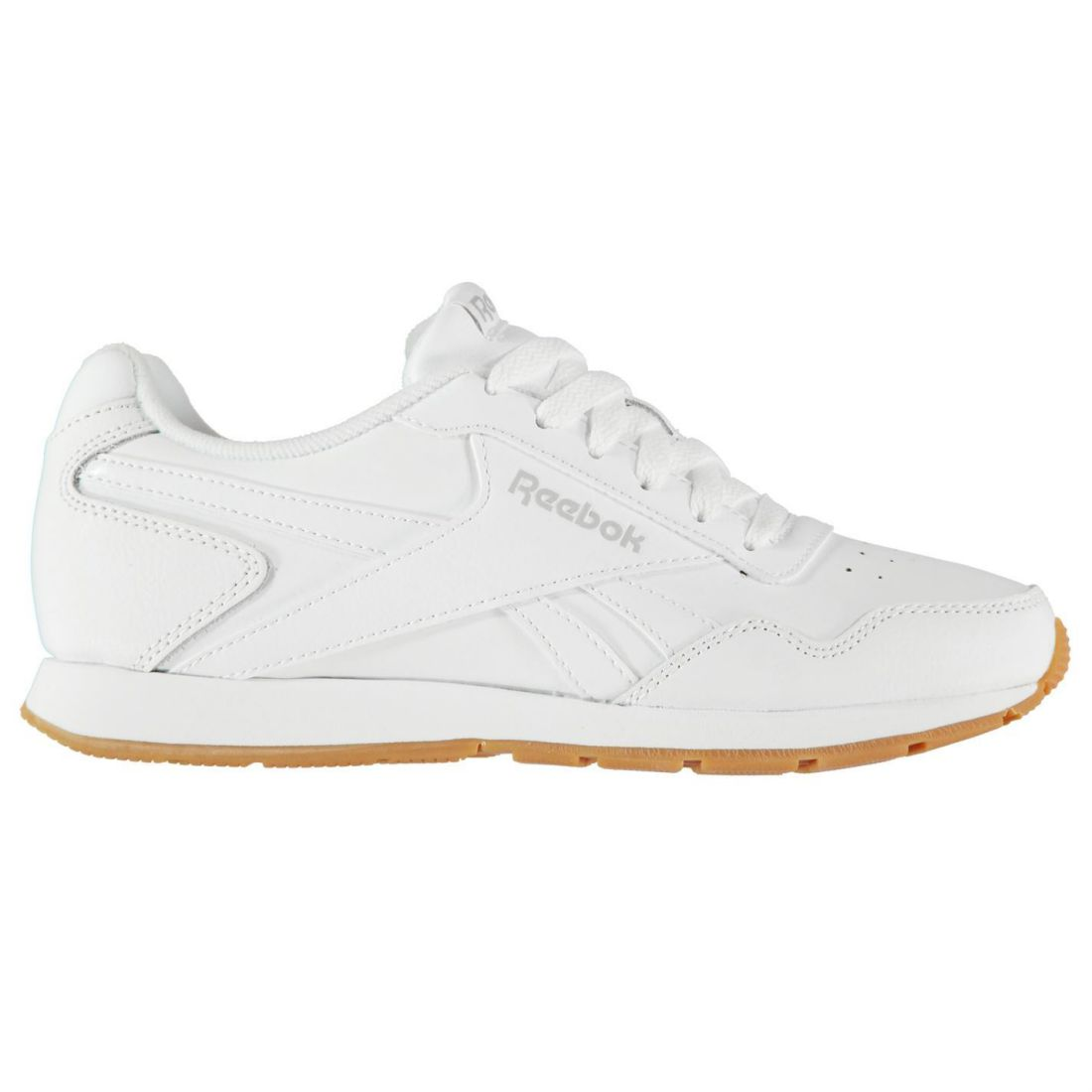 Reebok Glide Sneakers Ladies Classic Laces Fastened Padded Ankle Collar Tongue