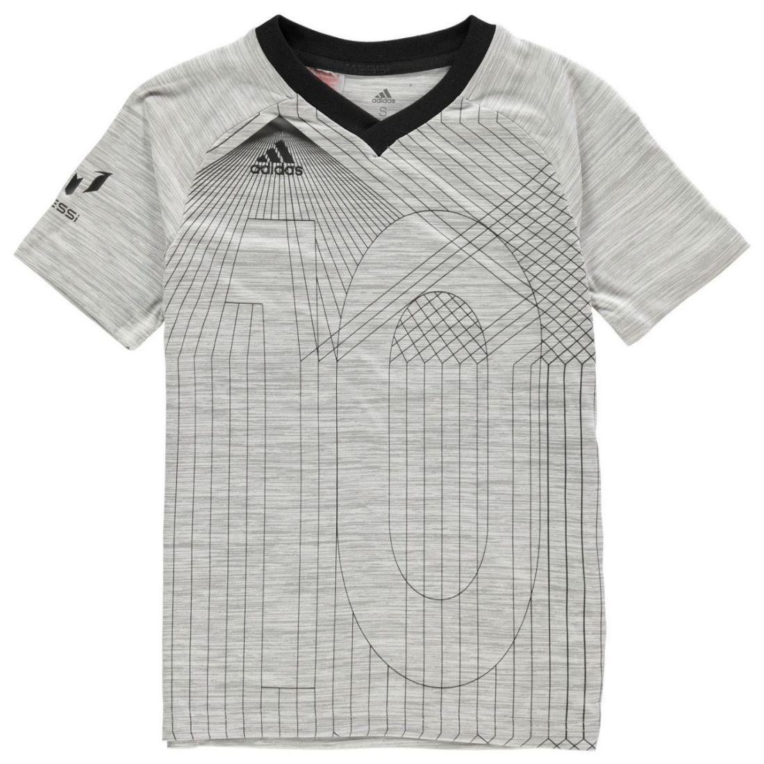 59a091b241f adidas Kids Boys Messi Tee Junior Short Sleeve Performance Shirt V Neck