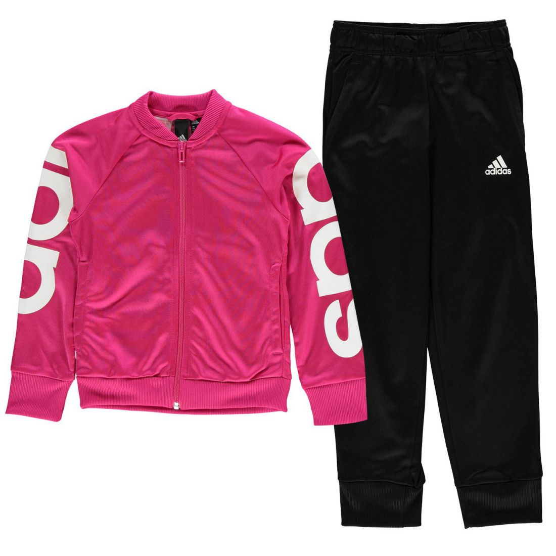 9f5693d3c2 adidas Poly Tracksuit Youngster Girls Full Length Sleeve Lightweight Zip  Zipped
